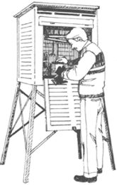 weather observer reading the screen instruments